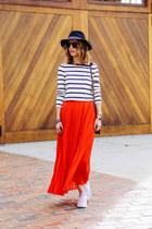 red maxi Chicwish skirt - white striped tee talbots shirt