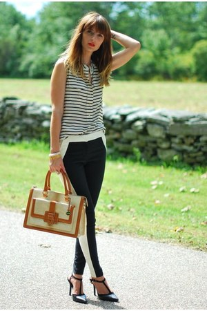 black BCBG shoes - black silk stripes J Crew shirt - beige brahmin bag
