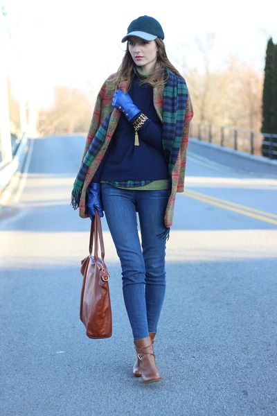 blue skinny J Brand jeans - camel ankle boots Sole Society boots
