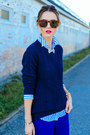 Navy-cable-knit-nautica-sweater-blue-striped-jcrew-shirt