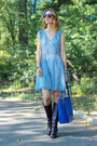 Crimson-leather-ariat-boots-blue-chiffon-french-connection-dress