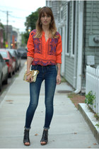 ruby red silk printed JCrew blouse - navy skinny Joes Jeans jeans