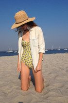 yellow one piece Juicy Couture swimwear - light blue chambray JCrew shirt
