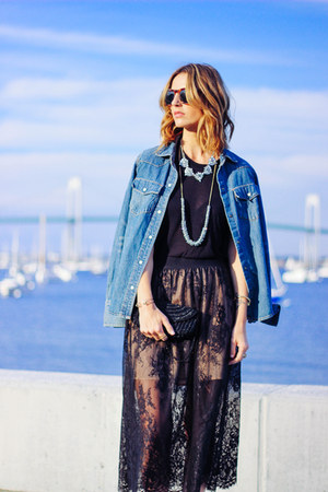 black lace Forever 21 skirt - blue denim JCrew shirt
