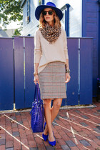 heather gray plaid talbots skirt - beige knit talbots sweater