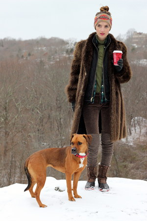 brown fur vintage coat - light brown shearling lined JCrew boots