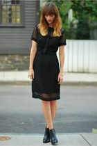 black platform banana republic boots - black mesh Walter Baker dress