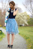 sky blue tulle French Connection skirt - white floral Zara blazer