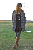 gray cocoon Express coat - green plaid TJ Maxx skirt