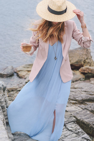 light blue maxi dress keepsake dress - light pink blush Reiss blazer