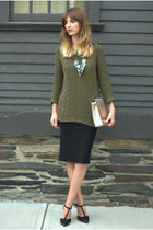 black pencil skirt TJ Maxx skirt - army green knit Marshalls sweater