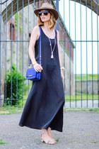 dark gray silk JCrew dress - blue cross body brahmin bag