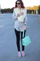 black leather JCrew leggings - aquamarine leather brahmin bag
