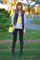 heather gray pear JCrew sweater - black J Brand jeans