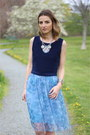 White-floral-zara-blazer-sky-blue-tulle-french-connection-skirt