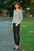 black skinny J Brand jeans - navy striped JCrew shirt