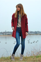 green plaid JCr blazer - ruby red cocoon coat Old Navy coat