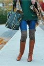 Camel-jcrew-boots-blue-j-brand-jeans-green-michael-kors-sweater