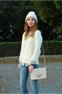 Navy-leopard-print-rag-bone-jeans-white-cable-knit-marshalls-sweater