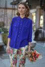 Light-brown-sandals-marc-fisher-earrings-blue-silk-jcrew-blouse
