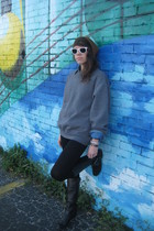 moms shirt - madewell leggings - Jessica Simpson boots - stepdads hat