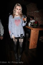 periwinkle wildfox couture sweater - black Jeffrey Campbell heels