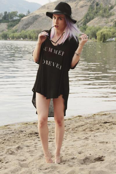 black wildfox couture top - hot pink garage swimwear