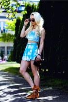 aquamarine velvet Tooth and Eye top - sky blue Black Milk Clothing shorts