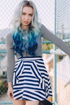 black striped Old Navy top - blue striped style moi skirt