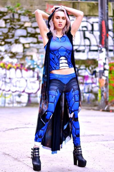 blue Mitmunk leggings - blue Mitmunk top - black Jeffrey Campbell heels