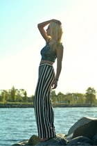 sky blue crop top Black Milk Clothing top - black striped Joe Fresh pants