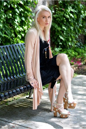 black velvet Black Milk Clothing dress - light pink yest cardigan