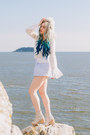 White-diy-hair-accessory-tan-jeffrey-campbell-sandals