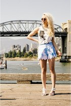 light blue Black Milk Clothing shorts - silver Miista sandals