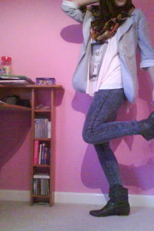gray new look blazer - pink new look top - blue Topshop jeans - gray Peacocks bo