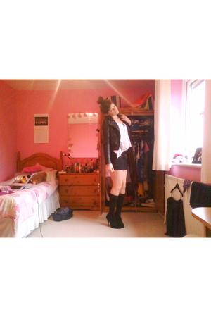 black Topshop socks - Newlook shoes - Topshop top - H&M jacket - H&M skirt - Top