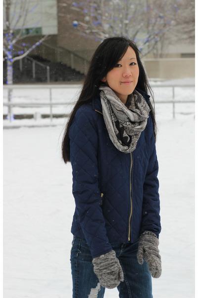 gray paisley Target scarf - blue skinny jeans Aeropostale jeans