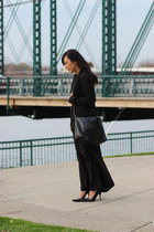black velvet calvin klein blazer - black shoulder bag Zara bag
