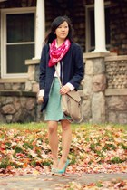 aquamarine pencil skirt Jessica Swagman shirt - navy H&M jacket