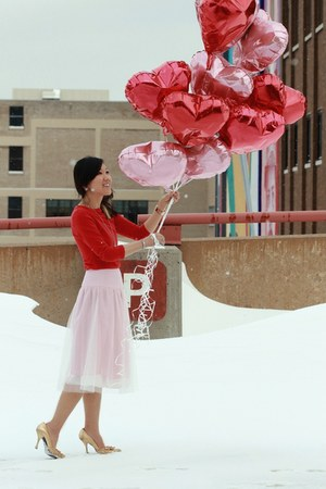 pink Jessica Swagman skirt - gray pea coat Old Navy coat - ruby red Target shirt