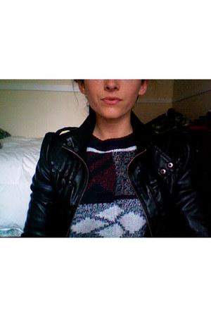 black Walmart jacket - navy Thrift Store sweater - black Target leggings - brown