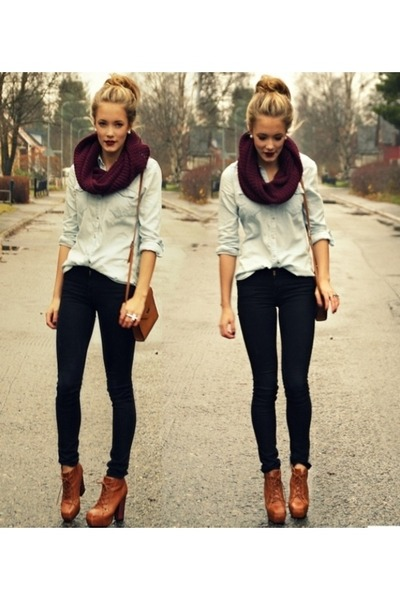 maroon circle scarf scarf - light blue shirt - black pants - brown heels