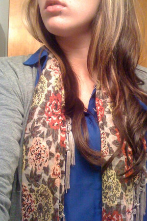 blue H&M shirt - light pink Target scarf - heather gray American Apparel cardiga