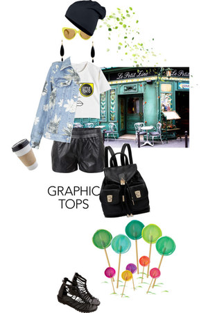 denim Topshop jacket - bag - leather shorts - sandals - Choies top