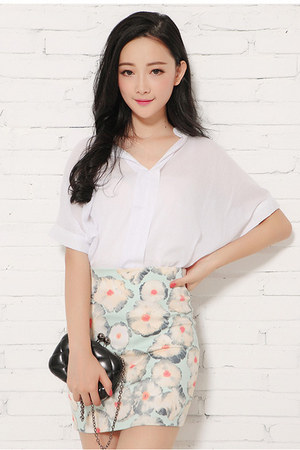 skirt - white blouse