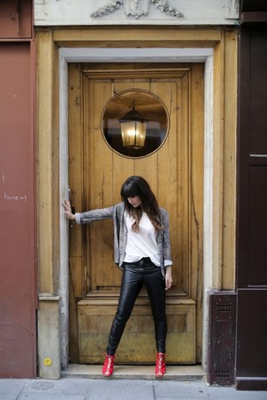 white Joie top - charcoal gray top - black leather pants - red heels