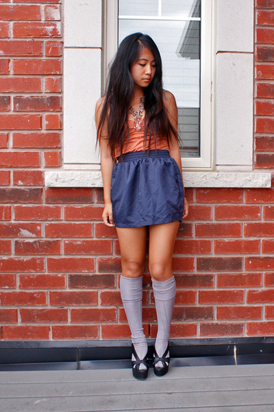 black Jeffrey Campbell shoes - blue aa skirt - orange wilfred top
