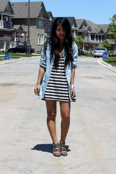 blue Primark blouse - black H&M top - gray Zara shoes