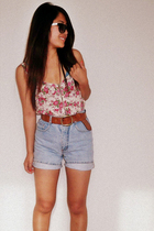 f21 blouse - Guess shorts
