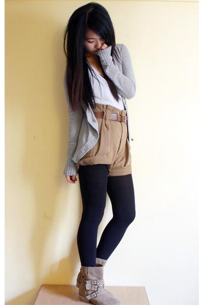 beige Zara shorts - beige Pimkie boots - white aa top